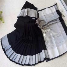Women's Black Colour New Soft Half Silk Sharee