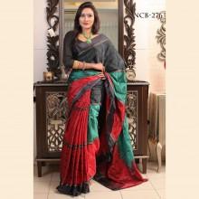 Multi Soft Silk Katan Saree With Blouse Piece For Women
