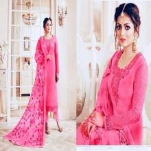 Unstitched Deep Pink Georgette Embroidery Salwar Kameez for Women