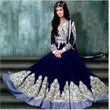 Unstitched Blue Georgette Gown For Women