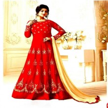 Unstitched Red Georgette Gown For Women
