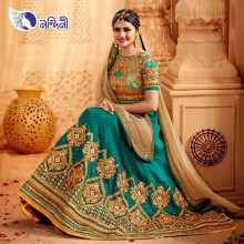 Unstitched Cyan Exclusive Gorgeous Georgette Lehenga Suit for Women