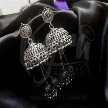 Silver Jhumka Earrings For Women Silver Jhumka Earrings For Women