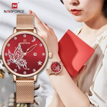 NAVIFORCE NF5011 RoseGold Mesh Stainless Steel Analog Watch For Women - Red & RoseGold